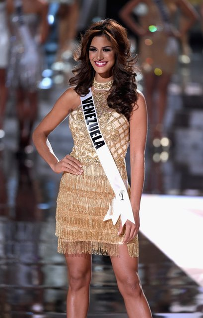 Top 15 contestant Miss Venezuela 2015, Mariana Jimenez, walks onstage during the 2015 Miss Universe Pageant at The Axis at Planet Hollywood Resort & Casino on December 20, 2015 in Las Vegas, Nevada. (Photo by Ethan Miller/Getty Images)