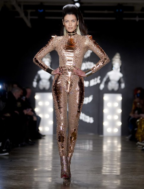 A model presents a creation during The Blonds 2015 collection show during New York Fashion Week, February 19, 2015. (Photo by Carlo Allegri/Reuters)