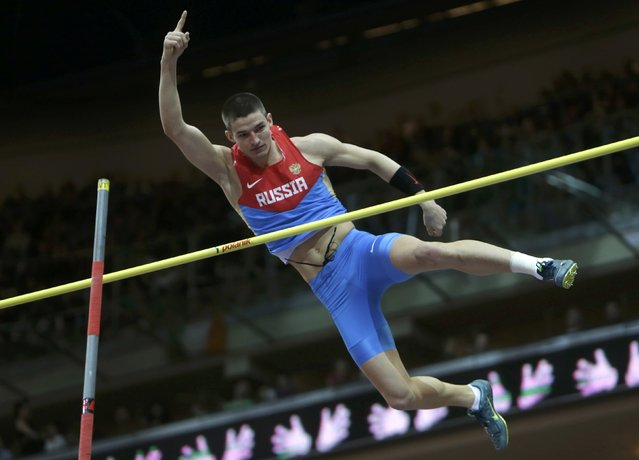 Ilya Shkurenyov of Russia competes in the men's heptathlon pole vault event during the European Indoor Championships in Prague March 8, 2015. REUTERS/David W Cerny (CZECH REPUBLIC  - Tags: SPORT ATHLETICS)