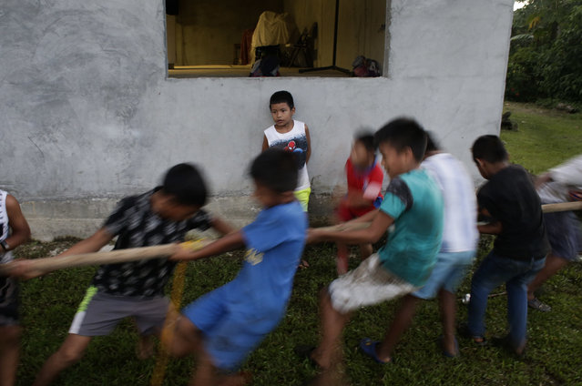 In this November 25, 2018 photo, a group of children play tug-of-war away from the second edition of the Panamanian indigenous games in Piriati, Panama. (Photo by Arnulfo Franco/AP Photo)