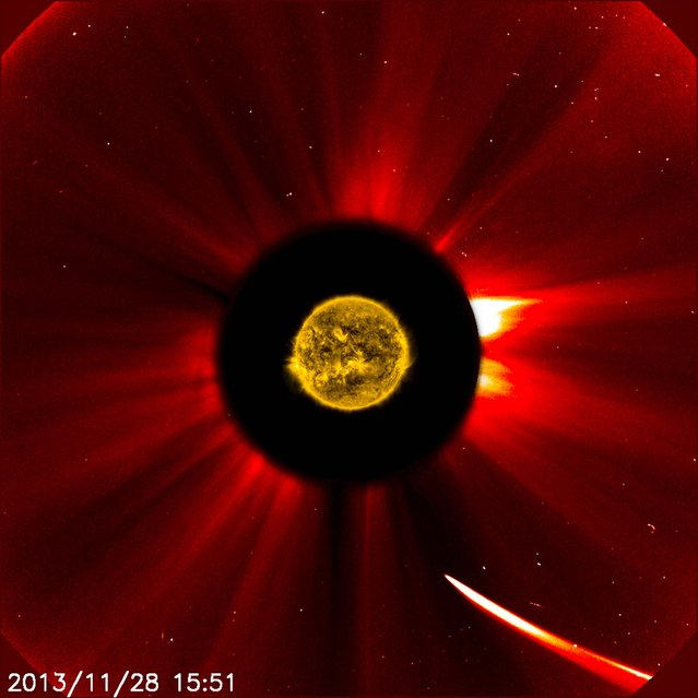 Comet ISON moves quite close to the sun in this image from ESA/NASA's Solar and Heliospheric Observatory captured at 10:51 a.m. EST on November 28, 2013, courtesy of NASA. This image is a composite, with the sun imaged by NASA's Solar Dynamics Observatory in the center, and SOHO showing the solar atmosphere, the corona. (Photo by ESA&NASA/SOHO/SDO)