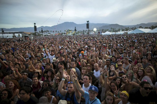 """A crowd waits for the band """"Alabama Shakes"""" to play at the Coachella Valley Music and Arts Festival in Indio, California April 10, 2015. (Photo by Lucy Nicholson/Reuters)"""