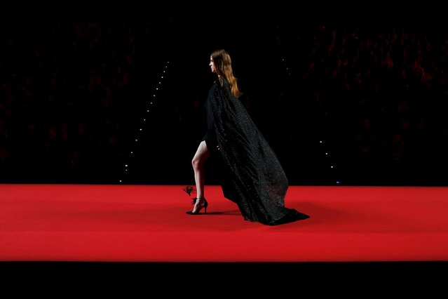 A model presents a creation from Juanjo Oliva's Fall/Winter 2016 collection during the Mercedes-Benz Fashion Week in Madrid, Spain, February 19, 2016. (Photo by Susana Vera/Reuters)