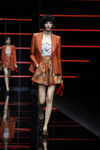 A model wears a creation as part of the Emporio Armani women's Fall-Winter 2019-2020 collection, that was presented in Milan, Italy, Thursday, February 21, 2019. (Photo by Luca Bruno/AP Photo)