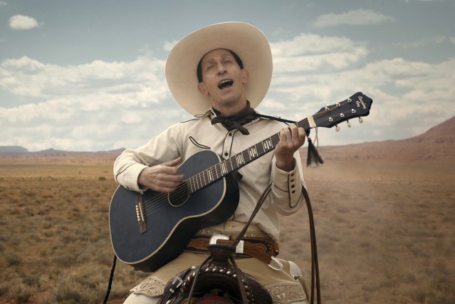 "This image released by Netflix shows Tim Blake Nelson as Buster Scruggs in a scene from ""The Ballad of Buster Scruggs"", a film by Joel and Ethan Coen which will have an exclusive run in theaters before becoming available on Netflix's streaming service. (Photo by Netflix via AP Photo)"