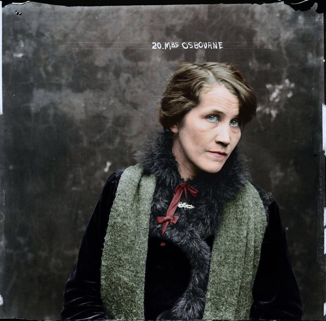 Colourised images have given vibrant new life to Australia's most notorious female criminals of the early 1900's including the fearsome London born razor-gang leader Matilda Devine. This series of expertly colourised pictures looks into the souls of their female counterparts Down Under, many of whom were British immigrants. The pictures have been colourised Matt Loughrey of My Colorful Past from Westport, Ireland. Here: Mrs Osbourne, location and details unknown, around 1919. (Photo by My Colorful Past/Mediadrumworld)