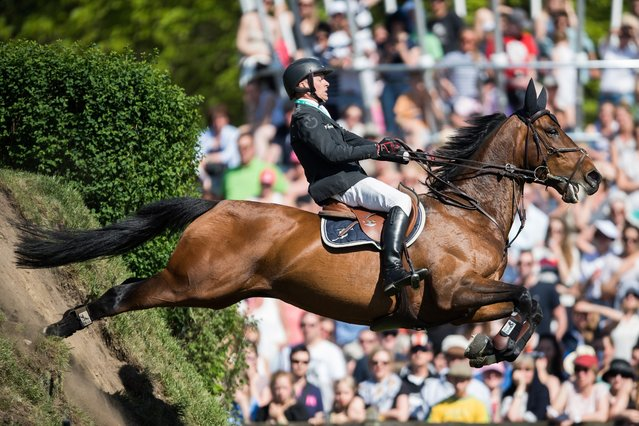 Sweden's Henrik Lanner and his horse Vivaldi in action during the German Show Jumping and Dressage Derby in Klein Flottbek in Hamburg, Germany, 08 May 2016. (Photo by Lukas Schulze/EPA)