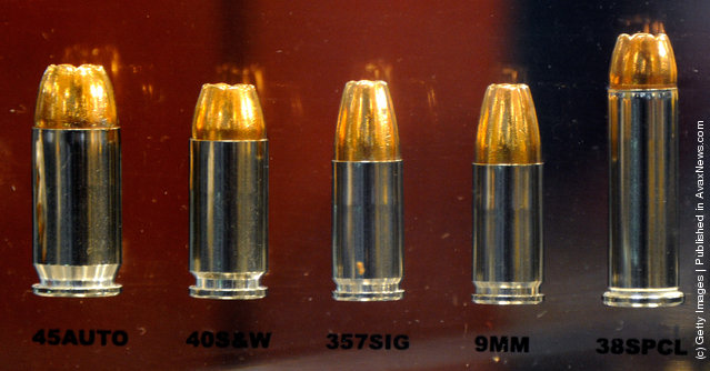 Winchester Ranger law enforcement ammunition is displayed in glass
