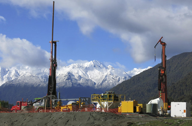 This October 3, 2014 photo shows the drilling site of an earthquake fault near Franz Josef Glazier on the South Island in New Zealand. The scientists found the water in the Alpine Fault was much hotter than expected, and could potentially be harnessed to generate electricity or provide direct heating in industries like dairy farming. (Photo by John Townend/Victoria University via AP Photo)