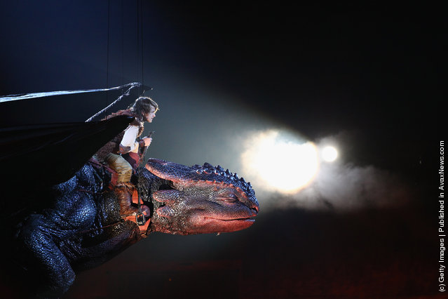 A scene is played out during a scene run through of the 'How to Train Your Dragon Arena Spectacular' at Hisense Arena in Melbourne