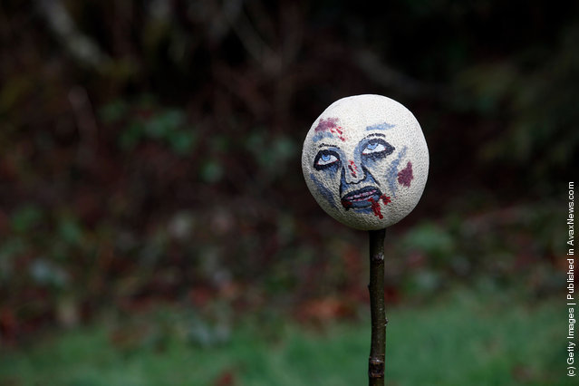 A painted cantaloupe serves as a target on a hatchet throwing range, as part of a 'Zombie First Responder' class in Sandy, Oregon