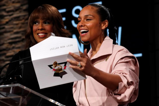 Singer Alicia Keys and CBS television host Gayle King announce nominations for the 2020 Grammy Awards at a news conference in Manhattan, New York, U.S., November 20, 2019. (Photo by Mike Segar/Reuters)