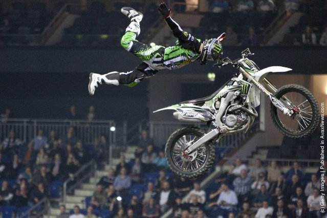 Remi Bizouard races at the Night of the Jumps freestyle motocross acrobatics at O2 arena