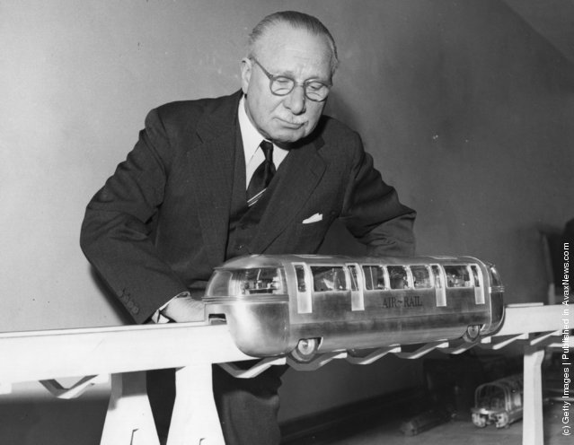 1958: Portrait of the MP and Chairman of the company formed to build the first mono-rail between London and London Airport, Sir Alfred Blossom, at his Westminster office