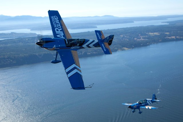 Air National Guard takes to the skies over Puget Sound during Seafair 2015 on Thurs., July 30, 2015 in Seattle, Wash. (Photo by Matt Mills McKnight/Invision for John Klatt Airshows, Inc./AP Images)