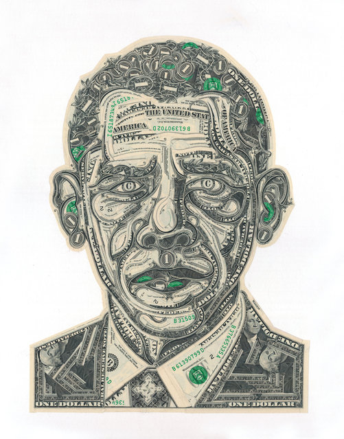 Obama, cut one-dollar bills. (Photo by Mark Wagner)