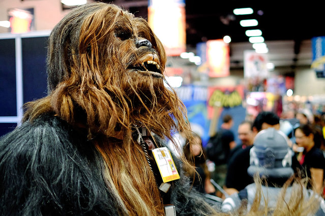 Christopher Petrone, of San Diego, CA, towering over attendees in his handmade, to-scale Chewbacca costume, gives a roar to fans during the 45th annual San Diego Comic-Con on July 24, 2014 in San Diego, California. An estimated 130,000 attendees are expected at this year's convention, which will celebrate the 75th anniversary of both Marvel Comics and the first Batman comic book. (Photo by T. J. Kirkpatrick/Getty Images)
