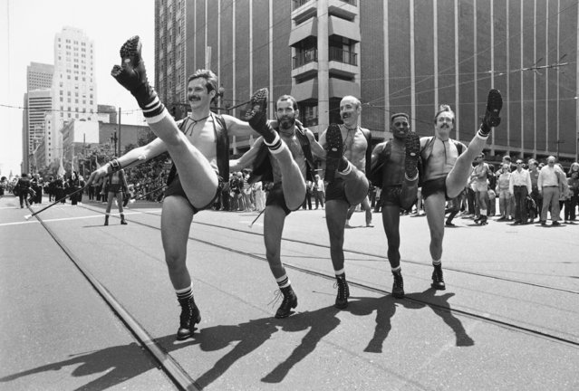 Members of the San Francisco Gay Freedom Day Marching Band and Twirling Corps do their thing down San Francisco's Market Street, June 27, 1982. Police estimate the crowd to be 300,000 for the Lesbian/Gay Freedom Day parade and rally. (Photo by Carl Viti/AP Photo)