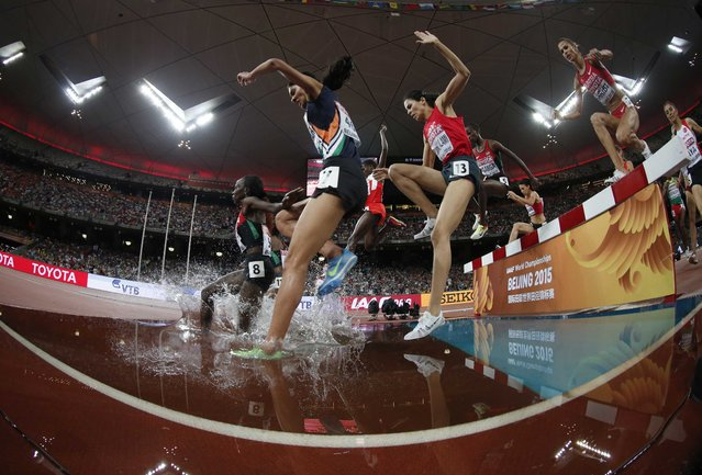 Athletes clear a water obstacle during the women's 3000 metres steeplechase final at the IAAF World Championships at the National Stadium in Beijing, China August 26, 2015. (Photo by Phil Noble/Reuters)