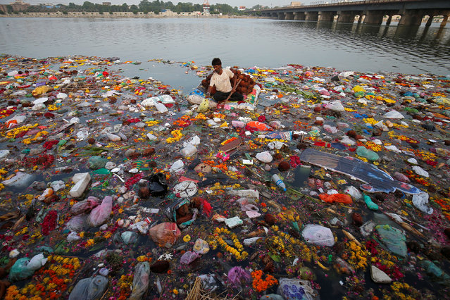 A man collects items thrown as offerings by worshippers into the Sabarmati river, a day after the immersion of idols of the Hindu god Ganesh, the deity of prosperity, in Ahmedabad, India on September 6, 2017. (Photo by Amit Dave/Reuters)