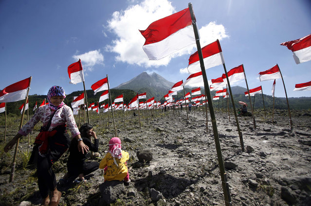Residents walk through hundreds of Indonesian national flags as they celebrate 69th Indonesia Independence day near Mount Merapi at Cangkringan village, Indonesia, August 17, 2014. Indonesia gained independence from the Netherlands in 1945. In 2005, the Netherlands declared that they had decided to accept August 17, 1945 as Indonesia's independence date. (Photo by Bimo Satrio/EPA)