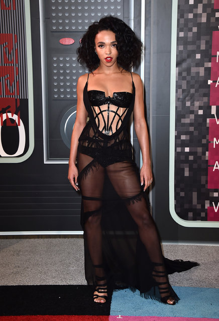 FKA Twigs arrives at the MTV Video Music Awards at the Microsoft Theater on Sunday, August 30, 2015, in Los Angeles. (Photo by Jordan Strauss/Invision/AP Photo)