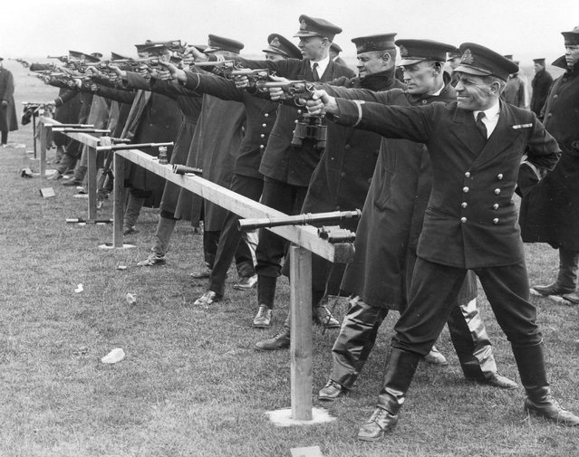 Members of the Nore Command of the Royal Navy taking part in the Nore Command Rifle and Revolver Meeting at Bartons Point Naval Range, Sheerness, Kent, 5th April 1935. (Photo by A. R. Tanner/Fox Photos)
