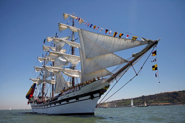 Venezuela's ship Simon Bolivar is pictured during the Tall Ships Races 2016 parade, in Lisbon, Portugal, July 25, 2016. (Photo by Pedro Nunes/Reuters)