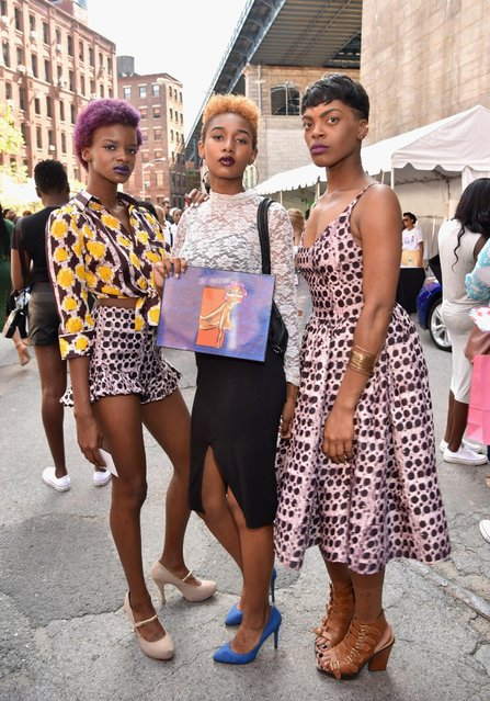 Guests attend the 2015 Essence Street Style Block Party on September 13, 2015 in New York City. (Photo by Mike Pont/Getty Images for Essence)
