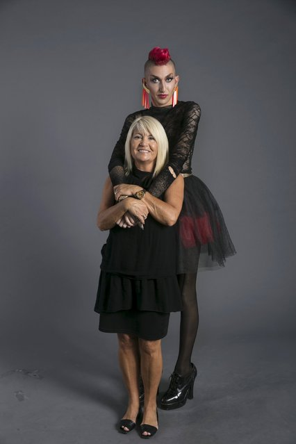 Drag queen Ronny Chokron, who goes by the stage name Nona Chalant, and his mother Coty Chokron (front) pose for a photo in a studio in Tel Aviv August 22, 2015. (Photo by Baz Ratner/Reuters)