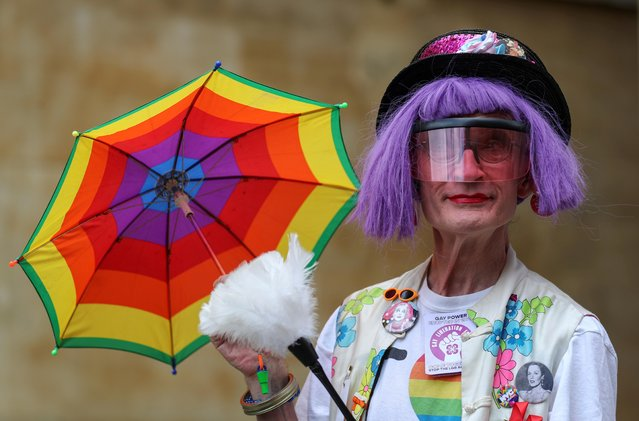 A demonstrator takes part in the Gay Liberation Front (GLF) pride march in London, Britain, June 27, 2020. (Photo by Simon Dawson/Reuters)