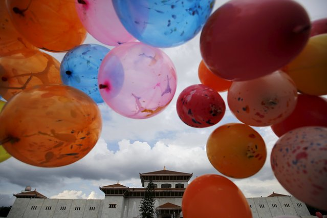 Decorated balloons are pictured in front of the parliament before President Ram Baran Yadav formally promulgates the new constitution in Kathmandu, Nepal September 20, 2015. (Photo by Navesh Chitrakar/Reuters)