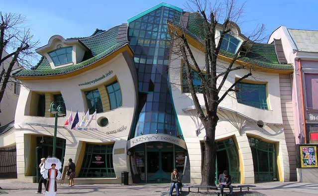A warped house, inspired by drawings of Polish illustrator Jan Szancer, is pictured on the main street in Sopot, a Baltic sea resort. (Photo by Janek Skarzynski)