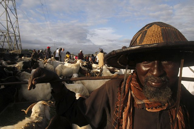 A seller stands near his sheep at a sheep market two days ahead of Eid al-Adha, in Port Bouet, Abidjan, Ivory Coast September 22, 2015. (Photo by Luc Gnago/Reuters)