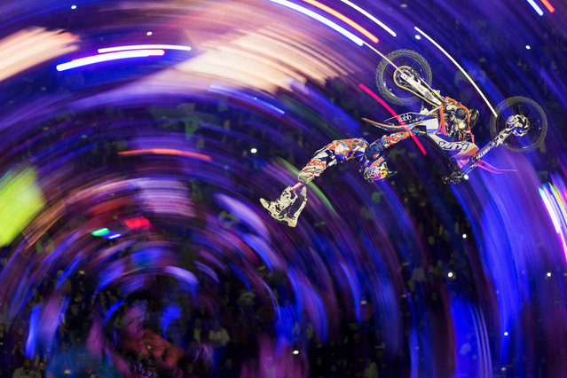 Levi Sherwood performs during the Red Bull X-Fighters World Tour at Plaza de Toros Mexico in Mexico City. (Photo by Alfredo Martinez/Red Bull/SWNS.com)