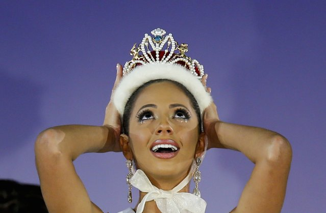 Valerie Hernandez Matias representing Puerto Rico reacts after winning the 54th Miss International Beauty title in Tokyo November 11, 2014. (Photo by Thomas Peter/Reuters)
