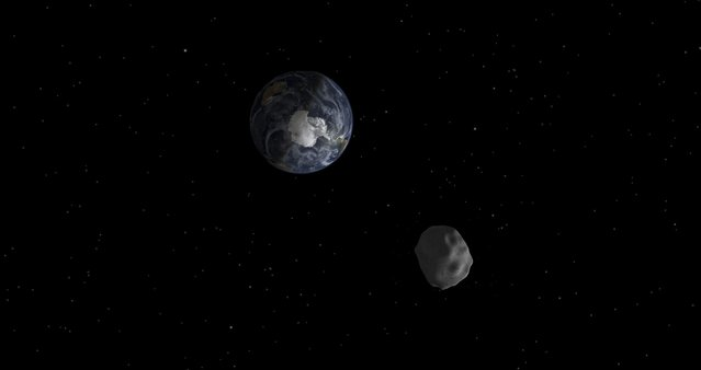 The passage of asteroid 2012 DA14 through the Earth-moon system, is depicted in this handout image from NASA. On February 15, 2013, an asteroid, 150 feet (45 meters) in diameter will pass close, but safely, by Earth. The flyby creates a unique opportunity for researchers to observe and learn more about asteroids. (Photo by NASA/Reuters/JPL-Caltech/Handout)