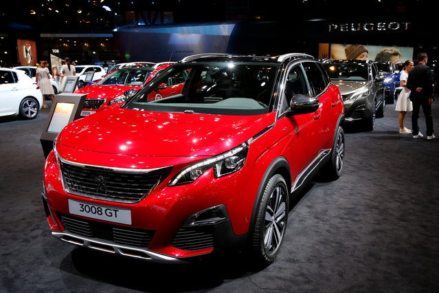 The Peugeot 3008 GT car is displayed on media day at the Paris auto show, in Paris, France, September 29, 2016. (Photo by Benoit Tessier/Reuters)