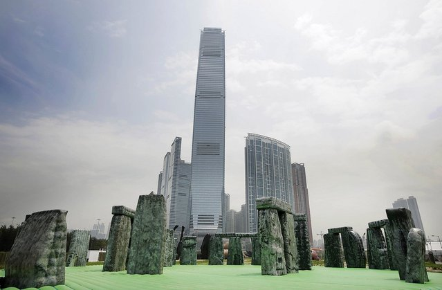"A life-size interactive inflatable sculpture of Stonehenge called ""Sacrilege 2012"" by English contemporary artist Jeremy Deller on display as part of the ""Inflation!"" exhibition curated by Mobile M + on April 24, 2013 in Hong Kong. The inflatable artwork is one of six on display as part of the exhibition which is open from April 25, 2013 until June 9, 2013. (Photo by Jessica Hromas)"