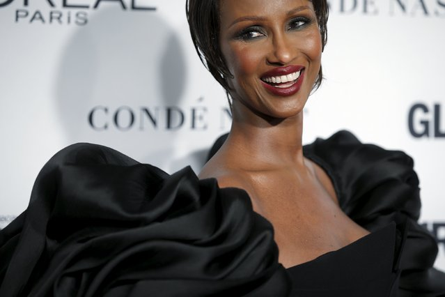 """Supermodel Iman arrives for the """"Glamour Women of the Year Awards"""" in the Manhattan borough of New York, November 9, 2015. (Photo by Carlo Allegri/Reuters)"""