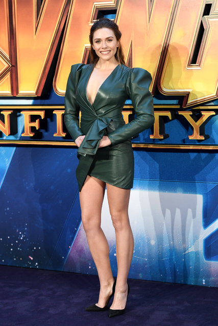 """Elizabeth Olsen attends the UK Fan Event for """"Avengers Infinity War"""" at Television Studios White City on April 8, 2018 in London, England. (Photo by Karwai Tang/WireImage)"""