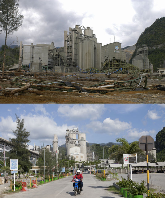 TOP IMAGE: The destroyed P.T. Lafage Cement factory in Lhok Nga, 150 miles from southern Asia's massive earthquake's epicenter on Tuesday January 8, 2005 in Banda Aceh, Indonesia. BOTTOM IMAGE: A motorbike rides out of the rebuilt P.T. Lafarge Cement factory prior to the ten year anniversary of the 2004 earthquake and tsunami on December 13, 2014 in Look Nga, Aceh, Indonesia. (Photo by Stephen Boitano/Barcroft Media)