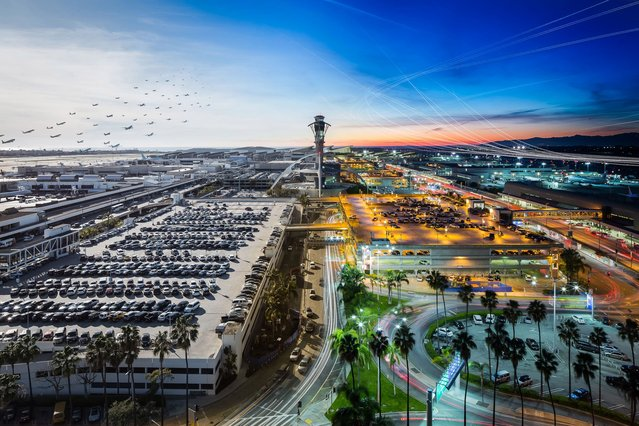 Day and night composite of Los Angeles International Airport showing the volume of air traffic. (Photo by Mike Kelley/SWINS)