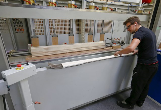 An employee prepares a wooden layer of a ski at the plant of Swiss ski manufacturer Stoeckli in Malters, Switzerland November 25, 2015. (Photo by Arnd Wiegmann/Reuters)