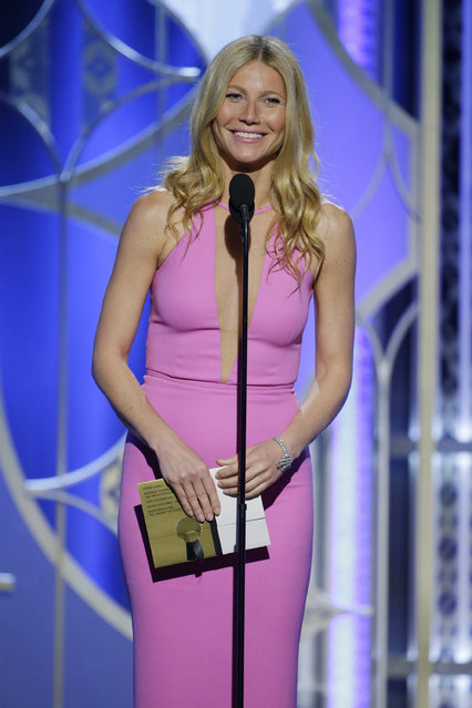 In this handout photo provided by NBCUniversal, Presenter  Gwyneth Paltrow speaks onstage during the 72nd Annual Golden Globe Awards at The Beverly Hilton Hotel on January 11, 2015 in Beverly Hills, California. (Photo by Paul Drinkwater/NBCUniversal via Getty Images)