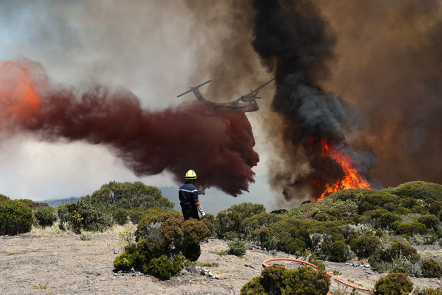 Firefighters work to extinguish a fire as a water bomber aircraft flies near Saint-Paul, on the French Indian Ocean island of La Reunion, on November 8, 2020. A fire, going on for three days in Reunion Island, has so far ravaged more than 200 hectares of vegetation in the Maido massif, a reservoir of biodiversity in the west of the island. (Photo by Richard Bouhet/AFP Photo)