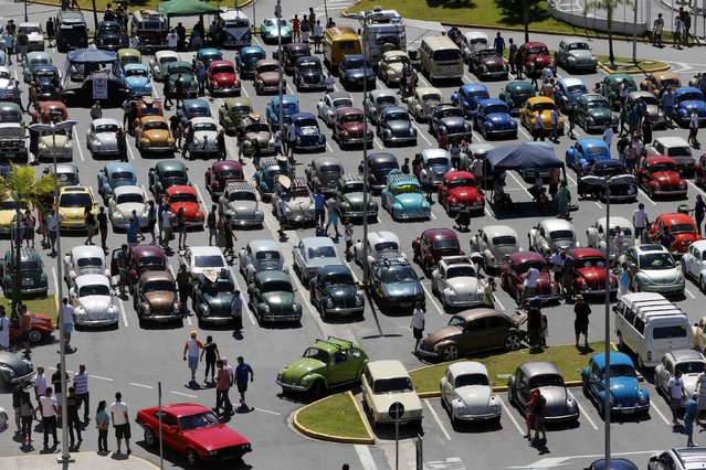People attend a Volkswagen Beetle owners meeting in Sao Bernardo do Campo January 25, 2015. (Photo by Paulo Whitaker/Reuters)