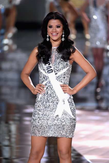 Top 15 contestant Miss Curacao 2015, Kanisha Sluis, walks onstage during the 2015 Miss Universe Pageant at The Axis at Planet Hollywood Resort & Casino on December 20, 2015 in Las Vegas, Nevada. (Photo by Ethan Miller/Getty Images)