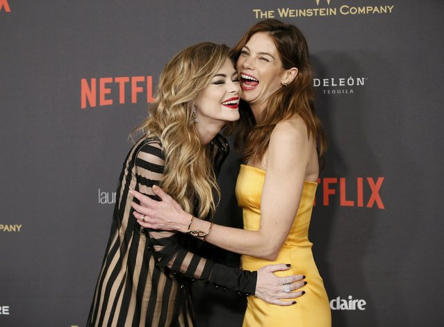 Actress Jaime King (L) greets actress Michelle Monaghan as they arrive at The Weinstein Company & Netflix Golden Globe After Party in Beverly Hills, California January 10, 2016. (Photo by Danny Moloshok/Reuters)