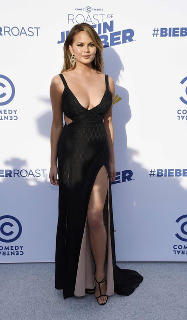 Model Chrissy Teigen poses during the Comedy Central Roast of Justin Bieber at Sony Studios in Culver City, California March 14, 2015. (Photo by Kevork Djansezian/Reuters)